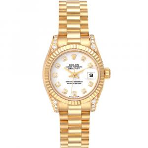 Rolex White Diamonds 18K Yellow Gold President 179238 Women's Wristwatch 26 MM
