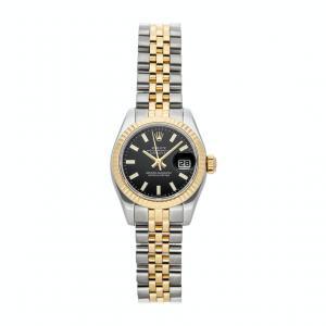 Rolex Black 18k Yellow Gold Stainless Steel Datejust 179173 Women's Wristwatch 26mm