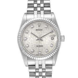Rolex Silver Diamonds 18K White Gold And Stainless Steel Datejust 68274 Women's Wristwatch 31 MM