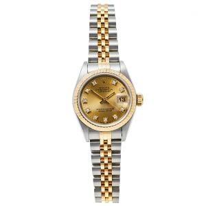 Rolex Champagne 18K Yellow Gold And Stainless Steel Diamonds Datejust 69173 Women's Wristwatch 26 mm