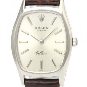 Rolex Silver 18K White Gold Cellini 3803 Mechanical Women's Wristwatch 23 MM