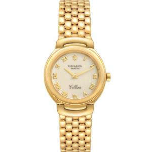 Rolex Ivory 18K Yellow Gold Cellini 6621 Women's Wristwatch 26 MM