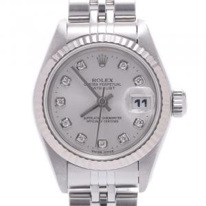 Rolex Silver Diamonds 18K White Gold And Stainless Steel Datejust 69174 Automatic Women's Wristwatch 26 MM