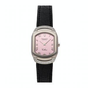 Rolex Pink Diamonds 18K White Gold Cellisima 6692/9 Women's Wristwatch 25 MM