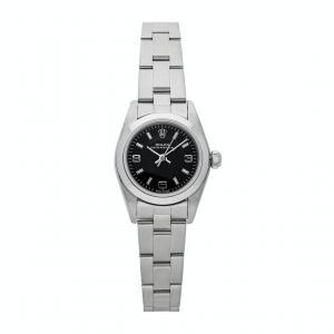 Rolex Black Stainless Steel Oyster Perpetual 76080 Women's Wristwatch 26 MM