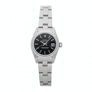 Rolex Black 18K White Gold And Stainless Steel Datejust 79174 Women's Wristwatch 26 MM