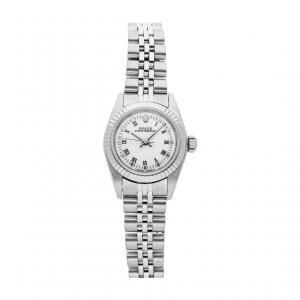 Rolex White Stainless Steel Oyster Perpetual 67194 Women's Wristwatch 24 MM