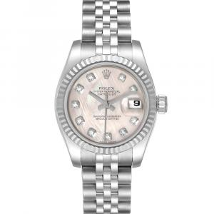 Rolex MOP Diamonds 18K White Gold And Stainless Steel Datejust 179174 Women's Wristwatch 26 MM