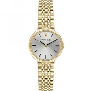 Rolex Silver 14k Yellow Gold Vintage Cocktail Women's Wristwatch 24 MM