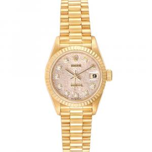 Rolex Champagne Diamonds 18K Yellow Gold President Datejust 79178 Women's Wristwatch 26 MM