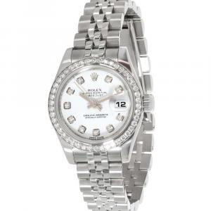 Rolex MOP Diamonds 18K White Gold And Stainless Steel Datejust 179384 Women's Wristwatch 26 MM
