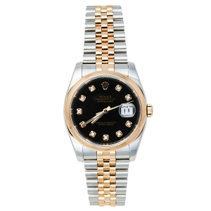 Rolex Black Diamonds 18K Rose Gold And Stainless Steel Datejust Automatic Women's Wristwatch 37MM
