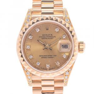 Rolex Champagne Diamonds 18K Yellow Gold Datejust 69188 Women's Wristwatch 26 MM