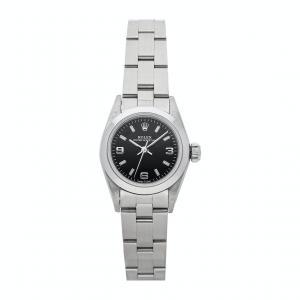 Rolex Black Stainless Steel Oyster Perpetual 67180 Women's Wristwatch 24 MM