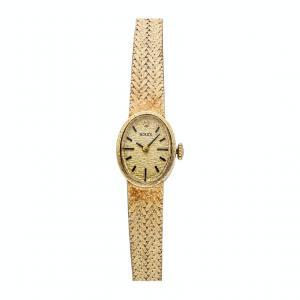 Rolex Champagne 18K Yellow Gold Vintage Women's Wristwatch 16 x 20 MM
