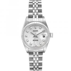 Rolex Silver Diamonds 18K White Gold And Stainless Steel Datejust 179174 Women's Wristwatch 26 MM