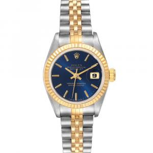 Rolex Blue 18K Yellow Gold And Stainless Steel Datejust 69173 Women's Wristwatch 26 MM