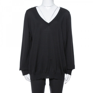 Saint Laurent Paris Black Wool V-Neck Sweater XXL -