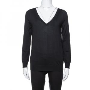 Saint Laurent Paris Black Wool V-Neck Sweater S