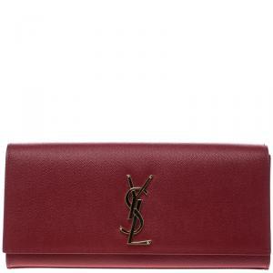 Saint Laurent Hot Pink Monogram Leather Kate Clutch