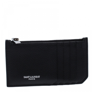 Saint Laurent Black Leather Zipped Fragments Credit Case