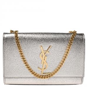 Saint Laurent Metallic Gold Leather Small Kate Monogram Shoulder Bag