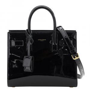 Saint Laurent Black Patent Leather Nano Sac De Jour Bag