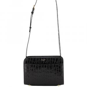 Saint Laurent Black Embossed Leather Reversed Bag