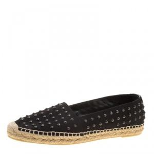 حذاء إسبادريل سان لوران باريس كانفاس أسود مرصع مقاس 40