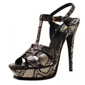 Saint Laurent Paris Metallic Black/Gold Python Embossed Leather Tribute Platform Sandals Size 39