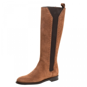 Saint Laurent Paris Brown Suede And Elastic Stitch Detail Knee Length Boots Size 35 - used