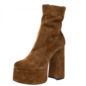 Saint Laurent Brown Suede Billy Platform Boots Size 39