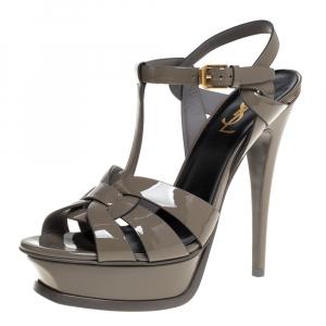 Saint Laurent Paris Grey Patent Leather Tribute Platform Sandals Size 38