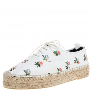 Saint Laurent Paris White Floral Print Leather Espadrilles Wedge Platform Sneakers Size 40