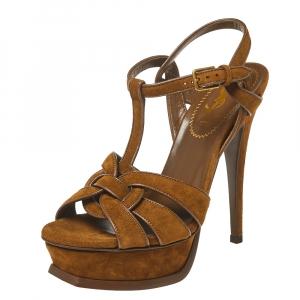 Saint Laurent Paris Brown Suede Leather Tribute Platform Ankle Strap Sandals Size 35.5