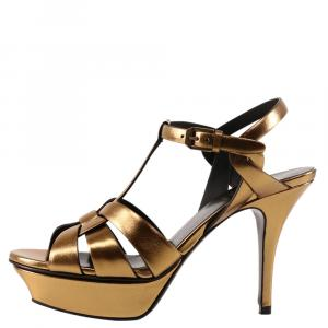 Saint Laurent Gold Leather Tribute high-heel sandals IT 36.5