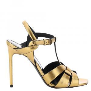 Saint Laurent Gold Leather Tribute high-heel sandals IT 38