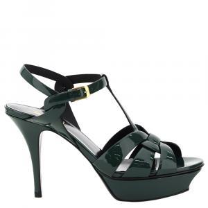 Saint Laurent Poison Green Tribute Patent Sandals Size EU 39