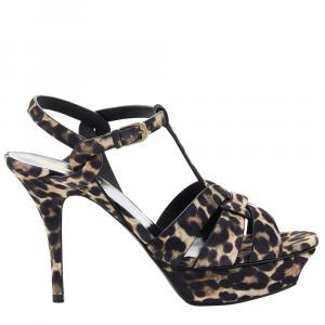 Saint Laurent Tribute Leopard Print Sandals Size EU 36