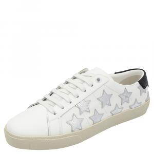 Saint Laurent White/Silver Leather Star Court Classic Metallic California Sneakers Size EU 38.5