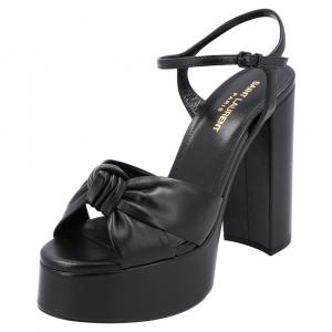 Saint Laurent Black Leather Bianca Sandals Size EU 39