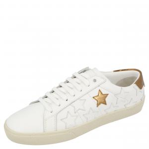 Saint Laurent White/Metallic Brown Star Court Classic Calfornia Sneakers Size EU 36