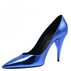 حذاء كعب عالي سان لوران باريس أزرق ميتالك مقاس  EU 37