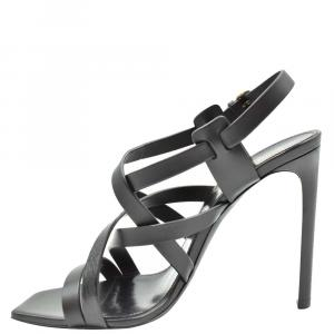 Saint Laurent Paris Black Leather Sandals Size EU 40