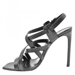 Saint Laurent Paris Black Leather Sandals Size EU 37