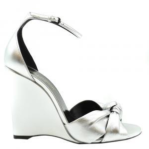 Saint Laurent Paris Metallic Silver Lila Wedge Sandals Size EU 38.5