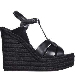 Saint Laurent Paris Black Tribute Wedge Espadrilles Size IT 36.5