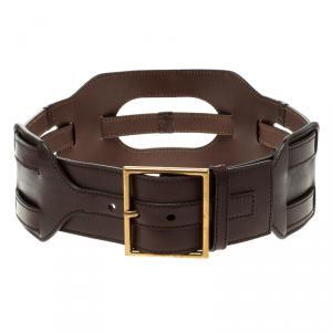 Saint Laurent Brown Leather Waist Belt 75cm
