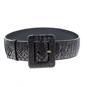 Saint Laurent Metallic Grey Python Wide Belt 80cm