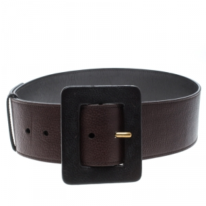 Saint Laurent Dark Brown Leather Waist Belt 75cm
